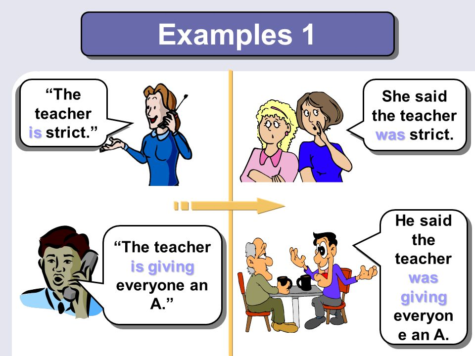 Examples 1 The teacher is strict. She said the teacher was strict.