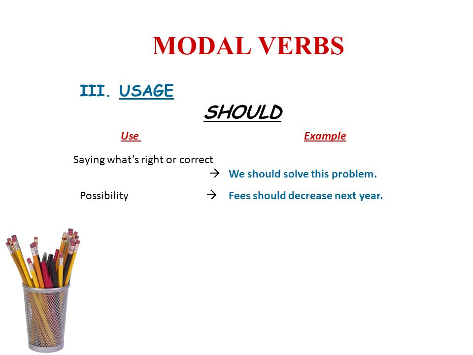 MODAL VERBS SHOULD III. USAGE Use Example