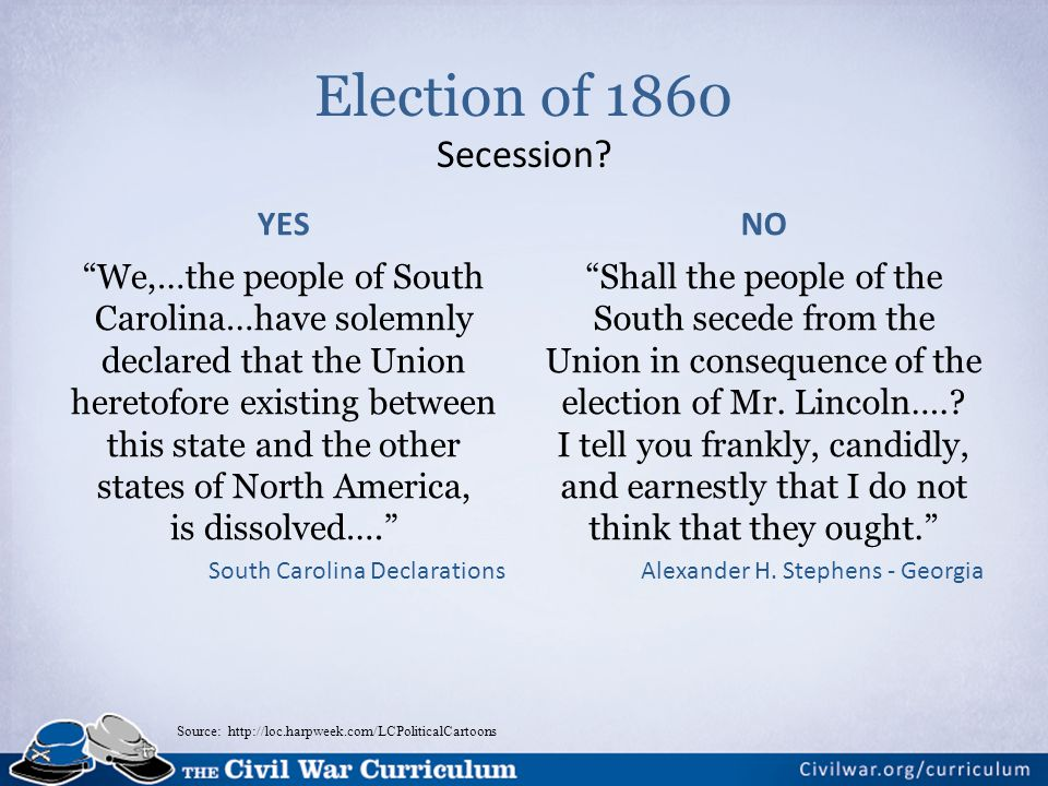Election of 1860 Secession YES NO