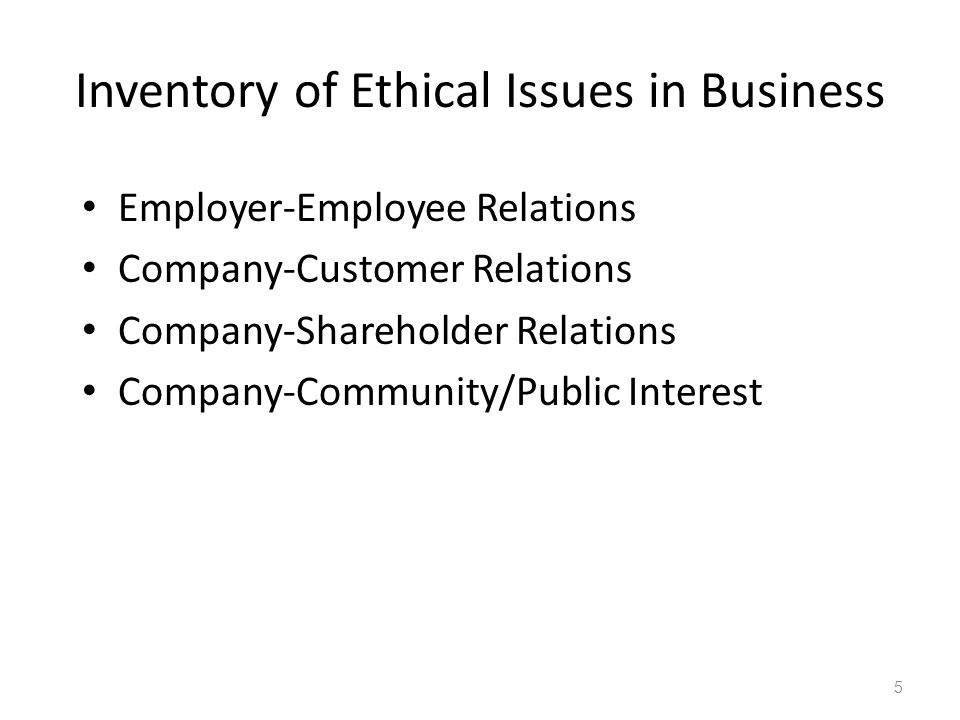 Inventory of Ethical Issues in Business