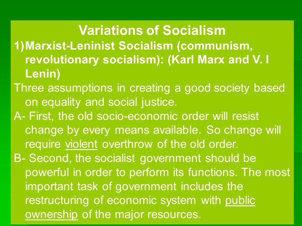 Variations of Socialism