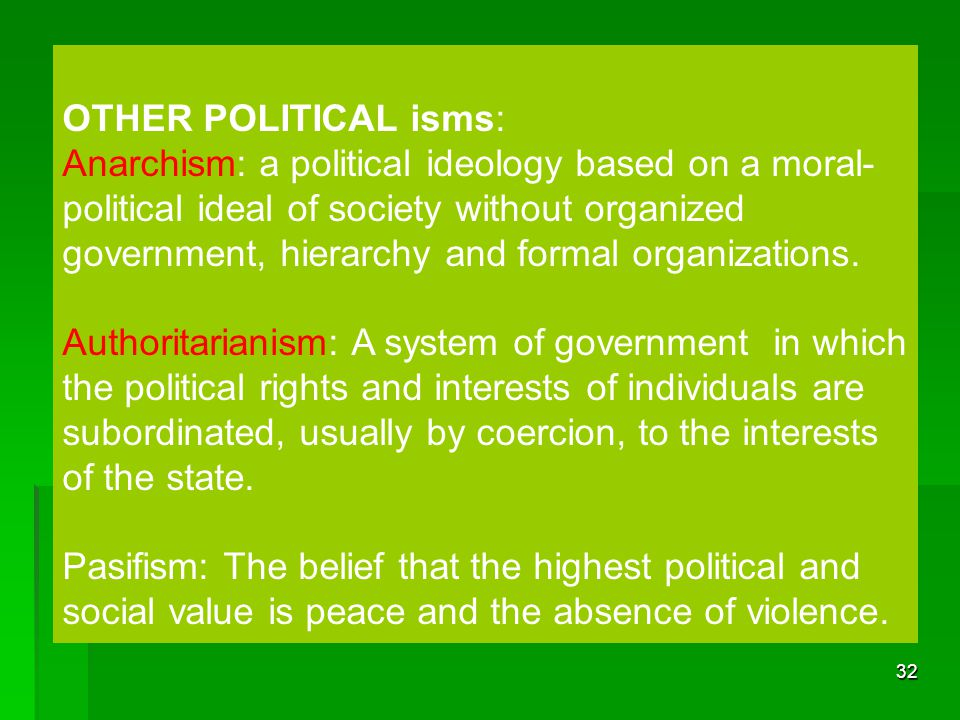 OTHER POLITICAL isms: