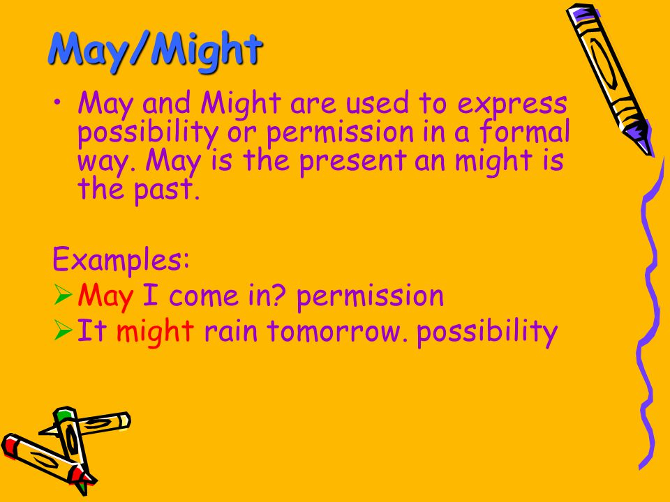 May/Might May and Might are used to express possibility or permission in a formal way. May is the present an might is the past.
