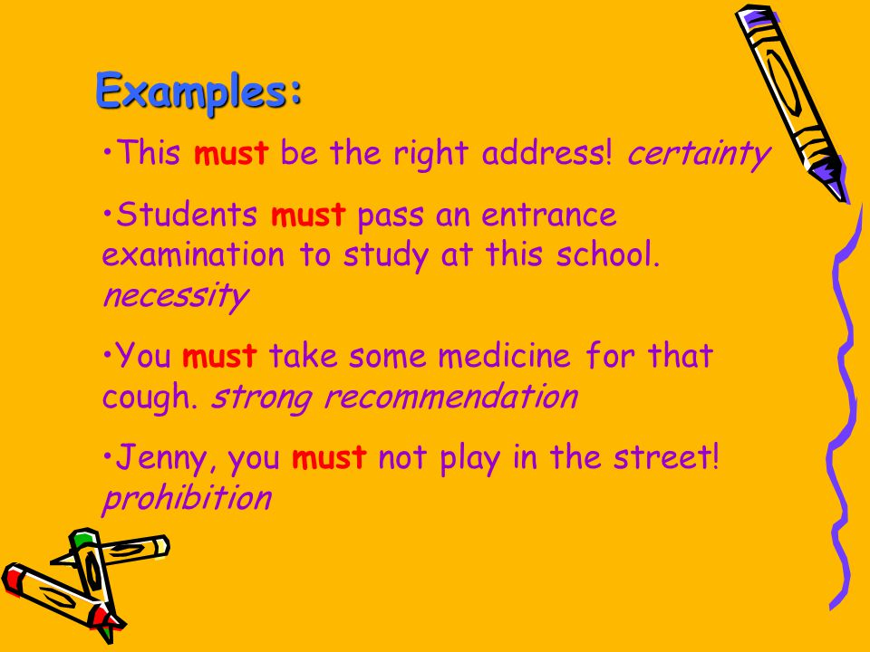 Examples: This must be the right address! certainty