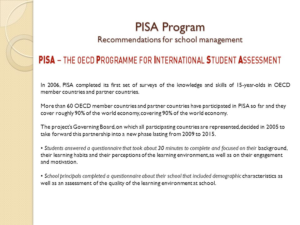 PISA Program Recommendations for school management