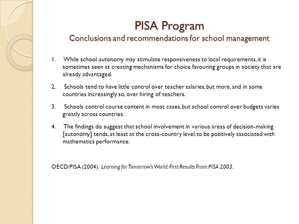 PISA Program Conclusions and recommendations for school management