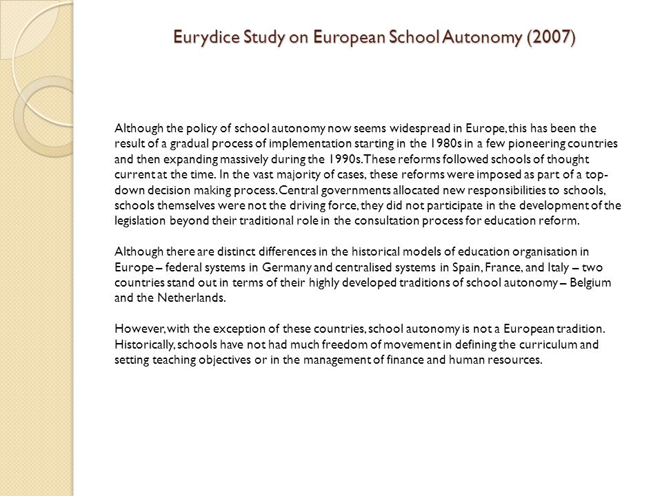 Eurydice Study on European School Autonomy (2007)