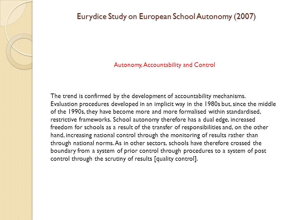 Eurydice Study on European School Autonomy (2007)