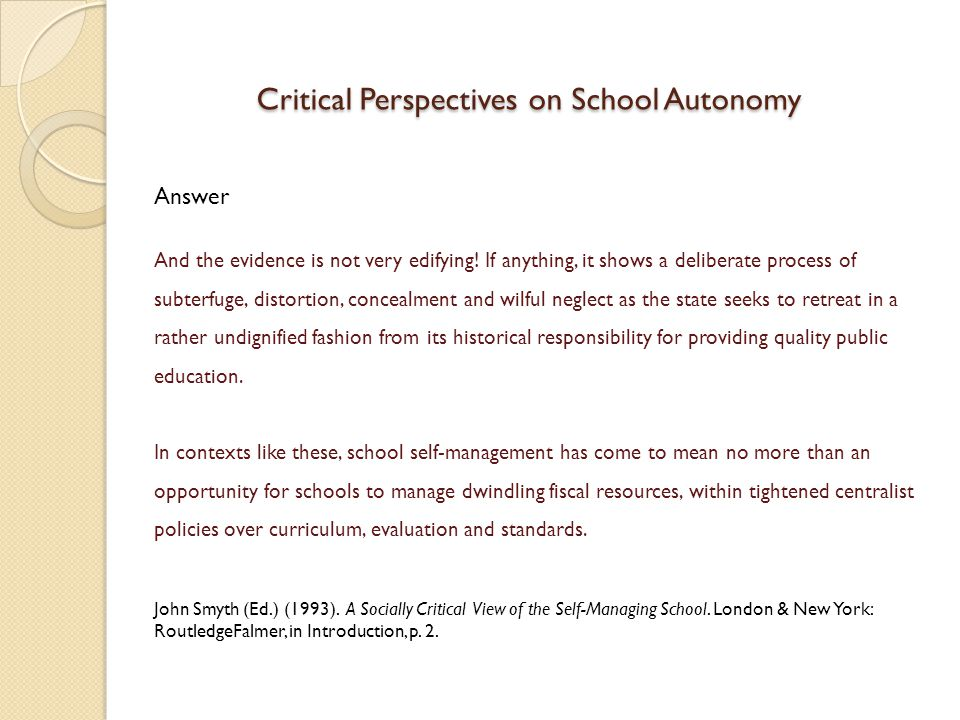 Critical Perspectives on School Autonomy
