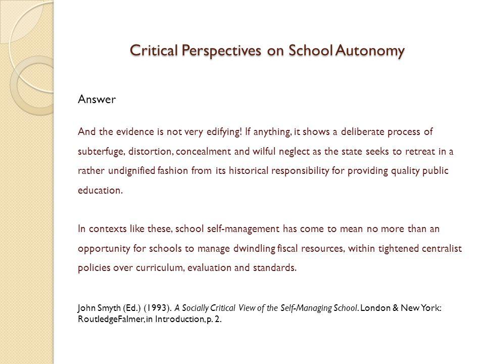 Critical Perspectives on School Autonomy
