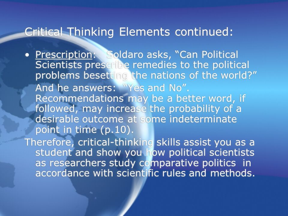 Critical Thinking Elements continued: