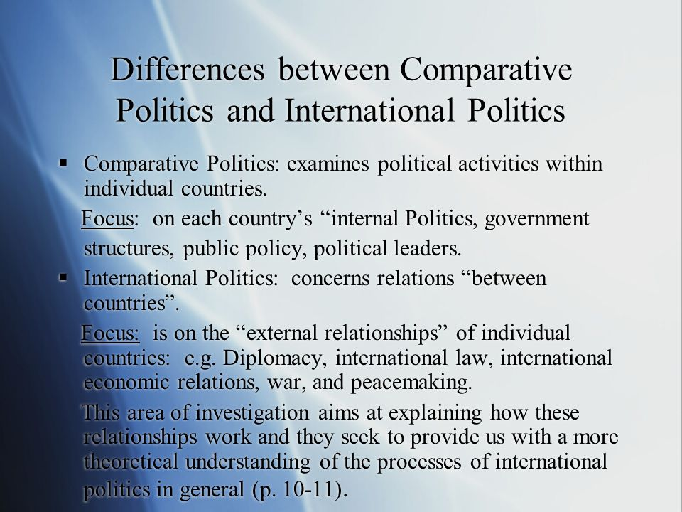 Differences between Comparative Politics and International Politics