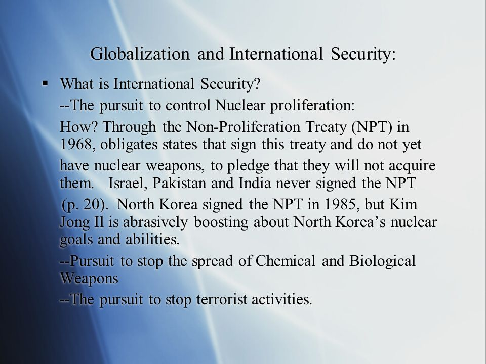 Globalization and International Security: