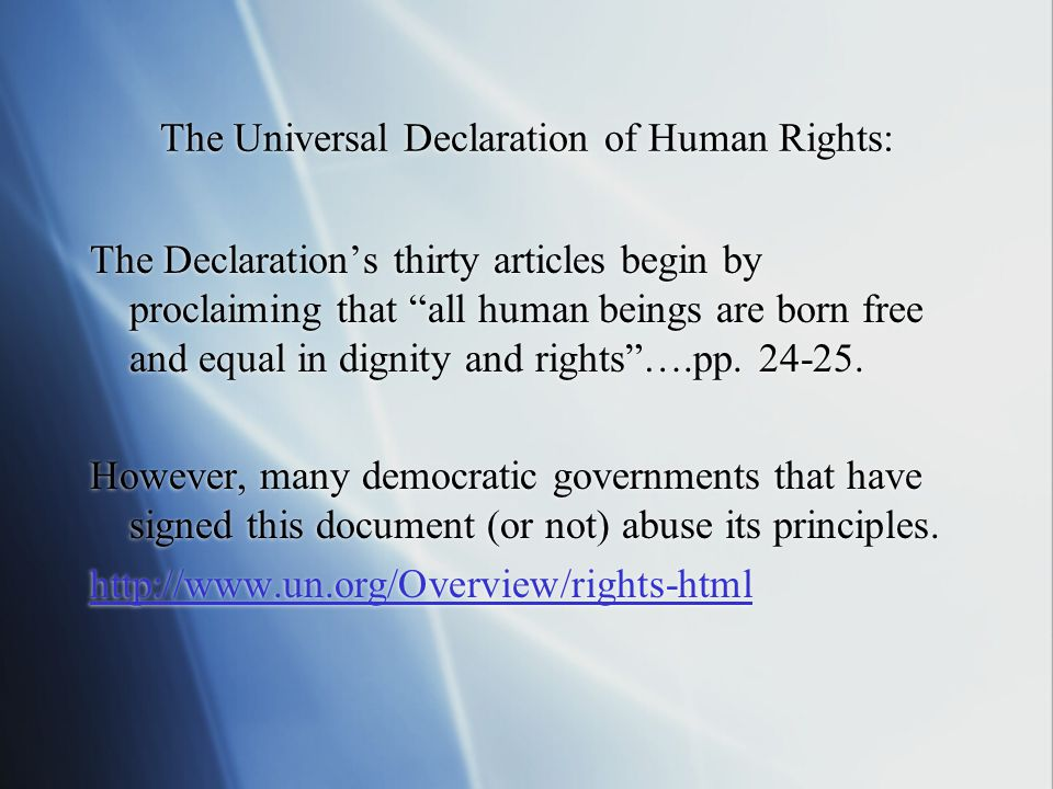 The Universal Declaration of Human Rights: