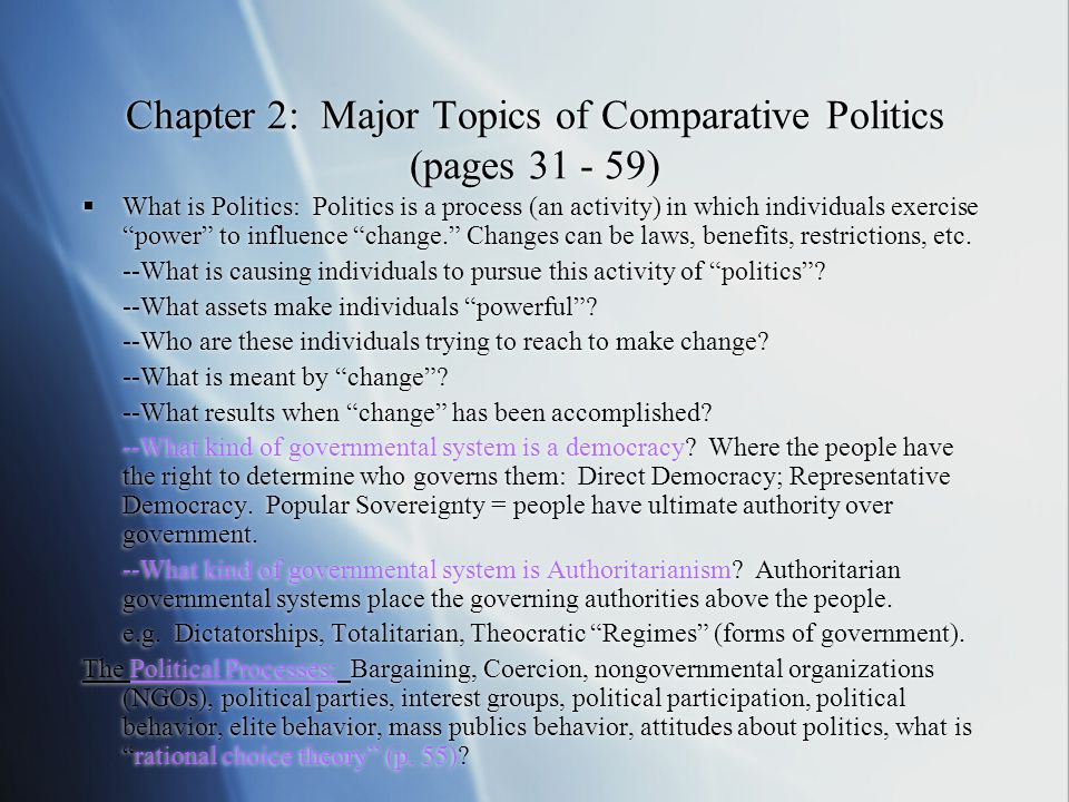 Chapter 2: Major Topics of Comparative Politics (pages 31 - 59)
