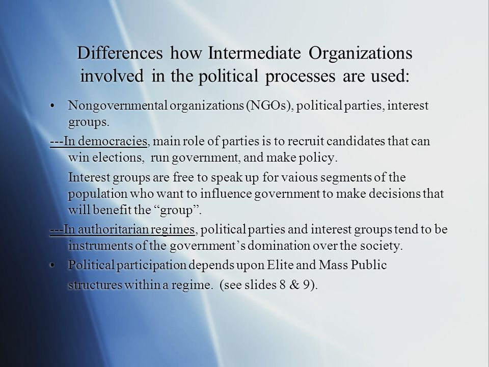 Differences how Intermediate Organizations involved in the political processes are used: