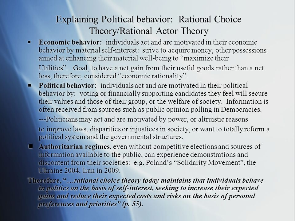 Explaining Political behavior: Rational Choice Theory/Rational Actor Theory