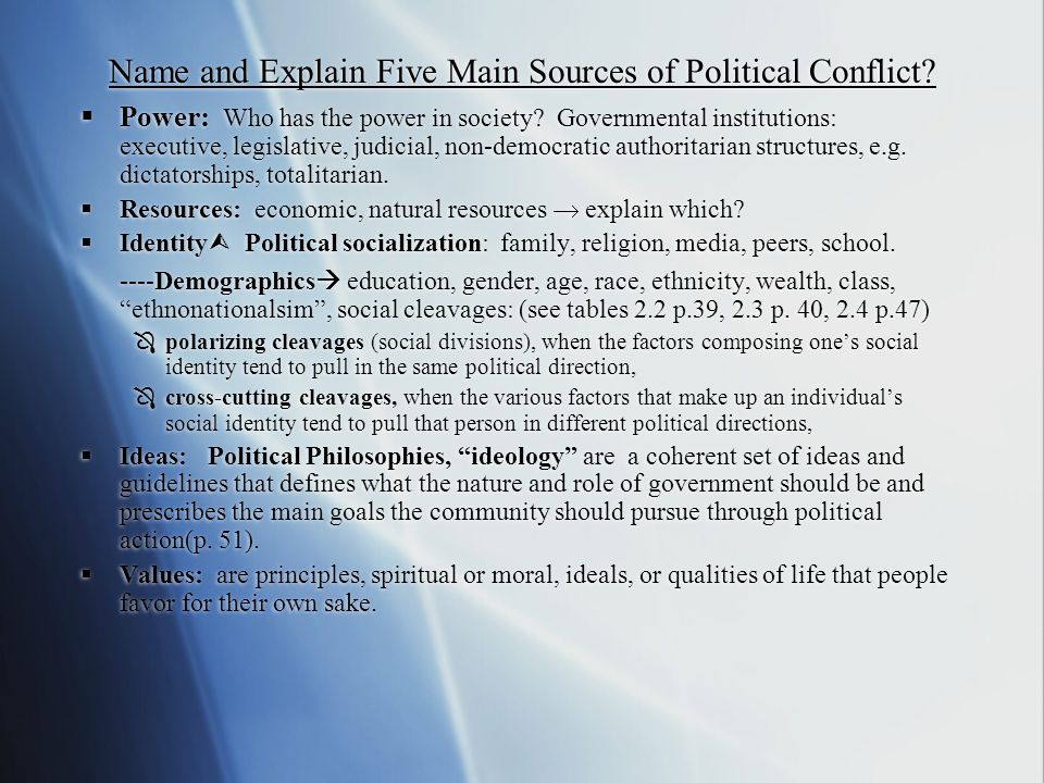Name and Explain Five Main Sources of Political Conflict