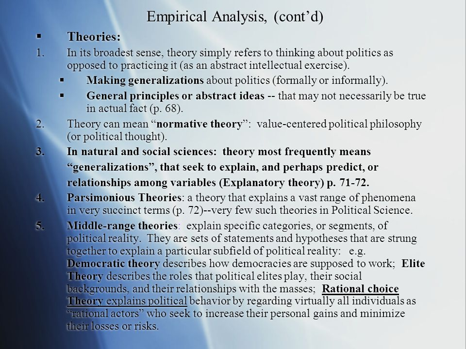Empirical Analysis, (cont'd)