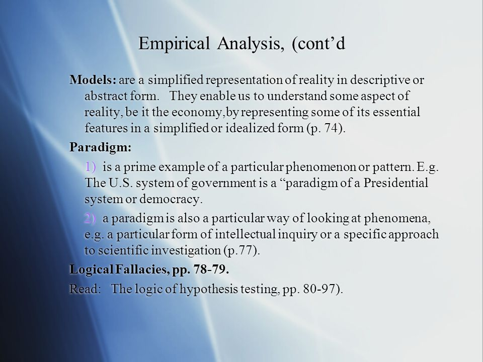 Empirical Analysis, (cont'd