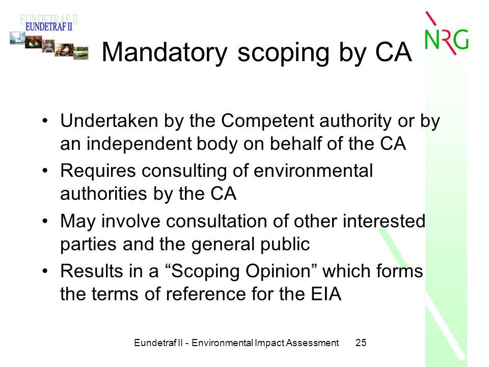 Mandatory scoping by CA