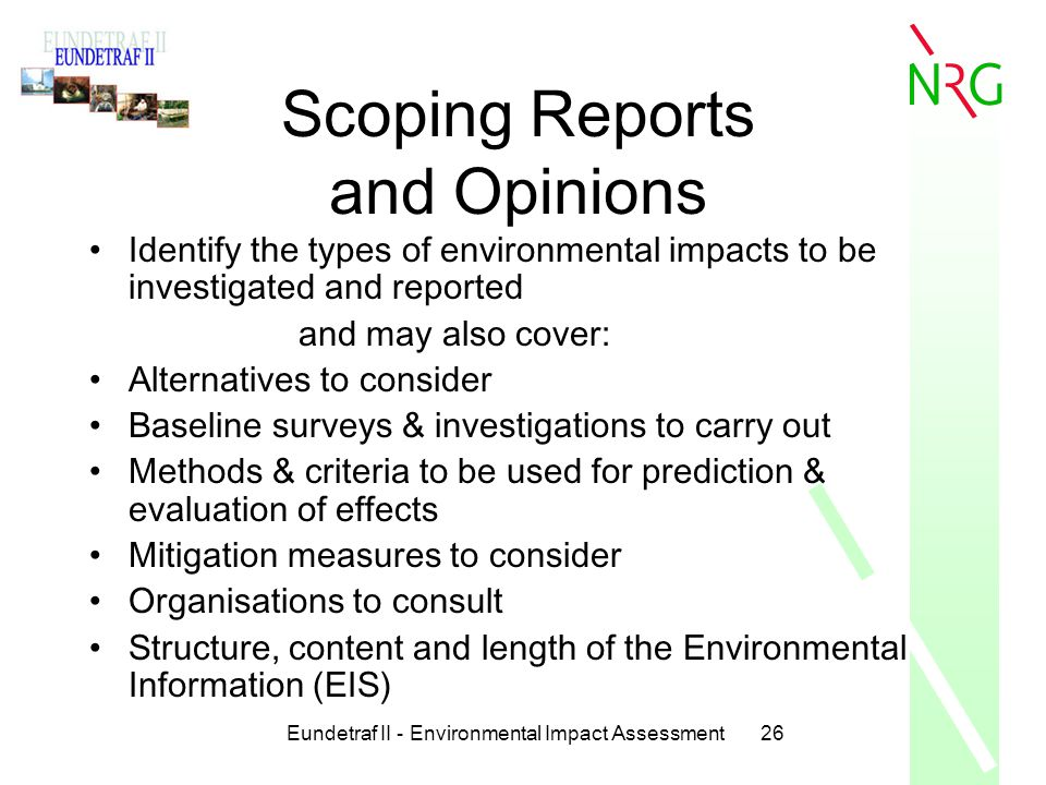 Scoping Reports and Opinions