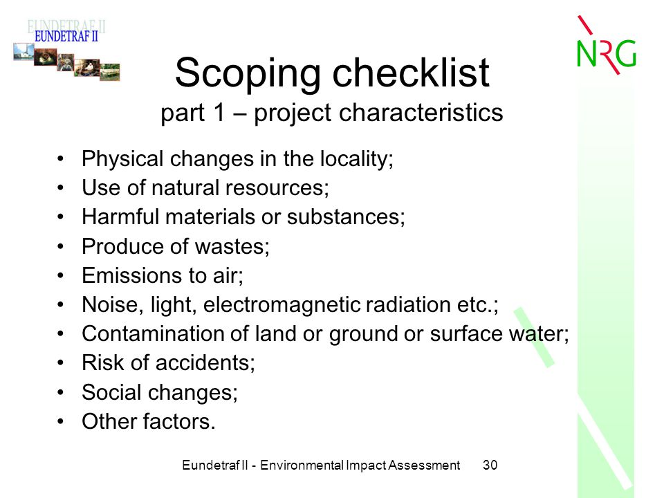 Scoping checklist part 1 – project characteristics
