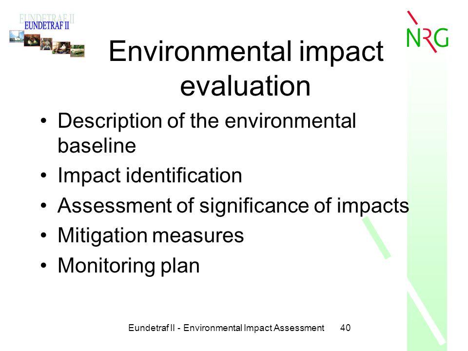Environmental impact evaluation
