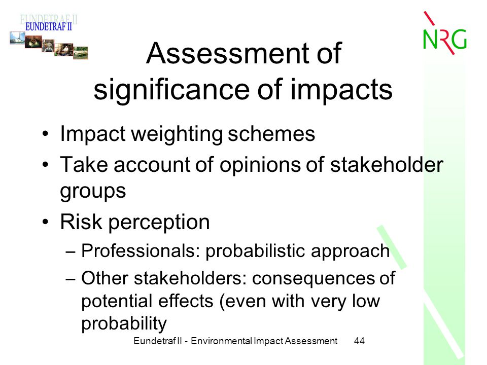 Assessment of significance of impacts