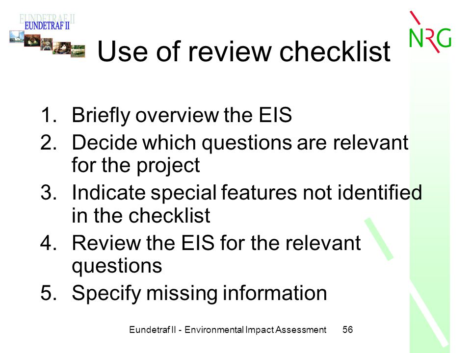 Use of review checklist
