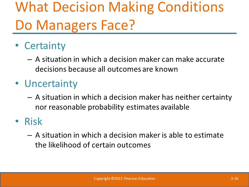 What Decision Making Conditions Do Managers Face