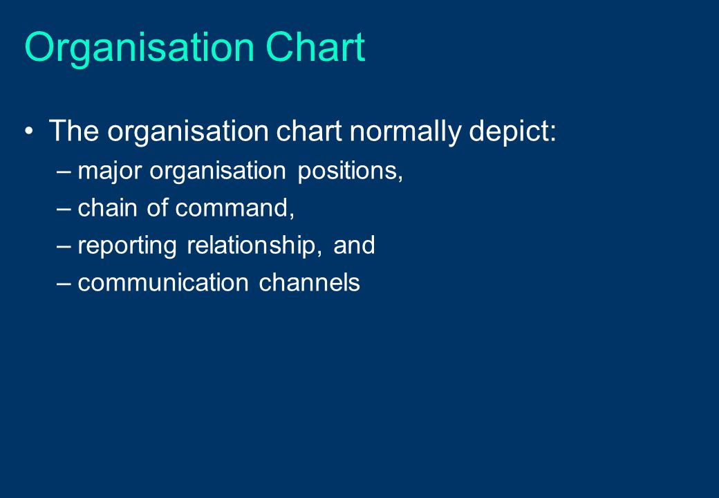 Organisation Chart The organisation chart normally depict: