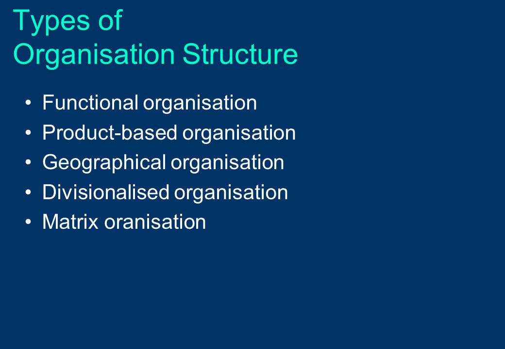 Types of Organisation Structure