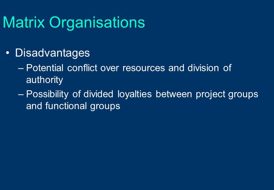 Matrix Organisations Disadvantages