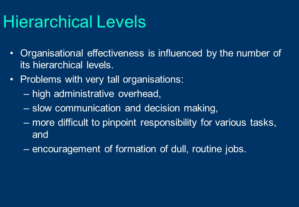Hierarchical Levels Organisational effectiveness is influenced by the number of its hierarchical levels.