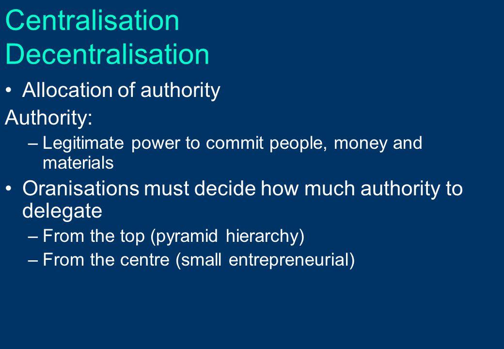 Centralisation Decentralisation