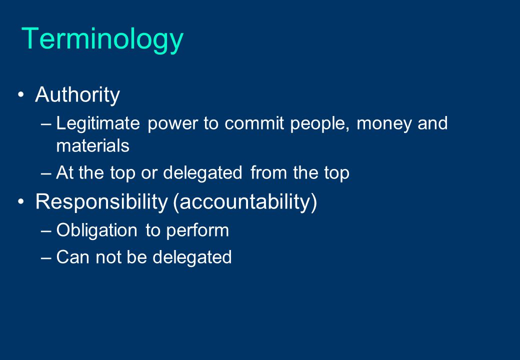 Terminology Authority Responsibility (accountability)