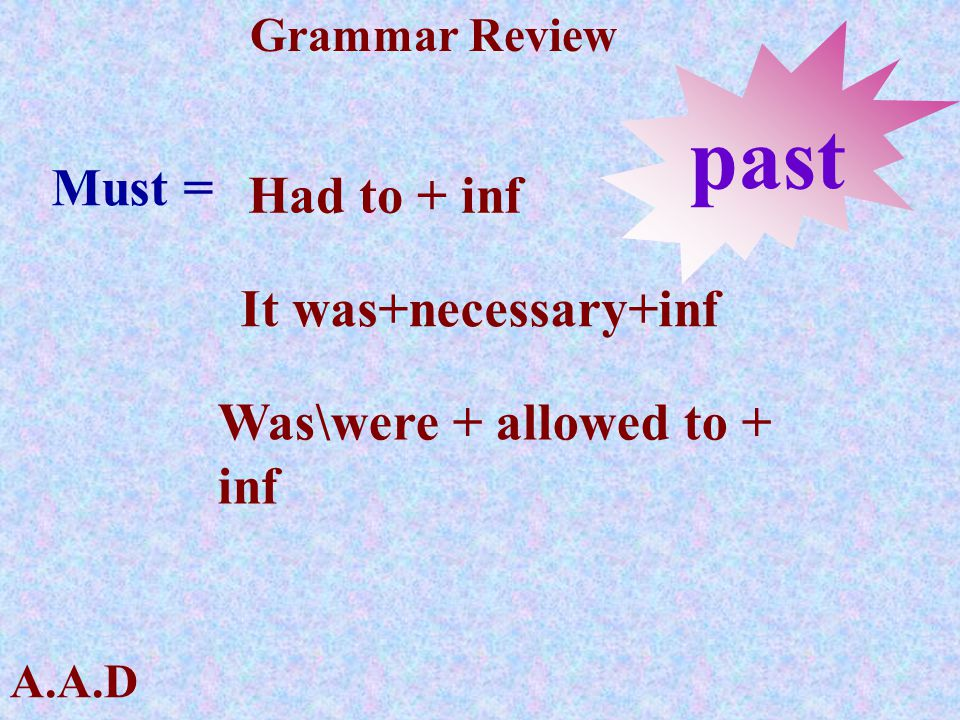 past Must = Had to + inf It was+necessary+inf