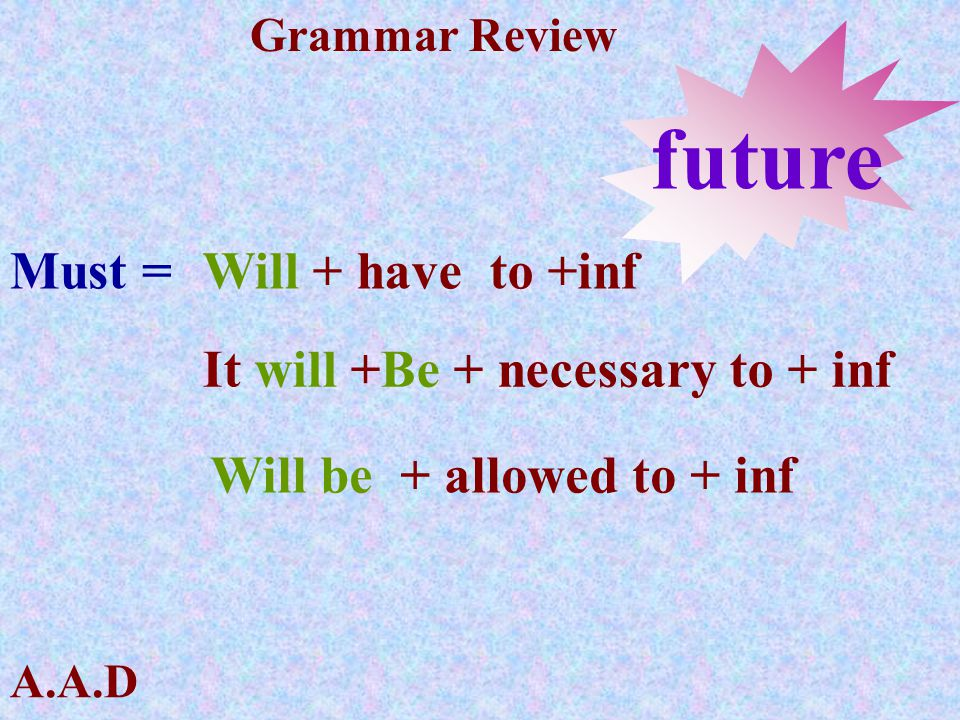 future Must = Will + have to +inf It will +Be + necessary to + inf