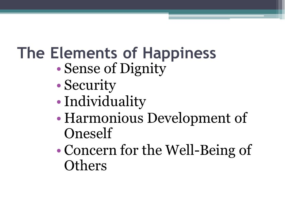 The Elements of Happiness