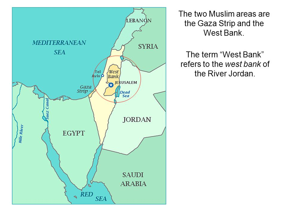 The two Muslim areas are the Gaza Strip and the West Bank.