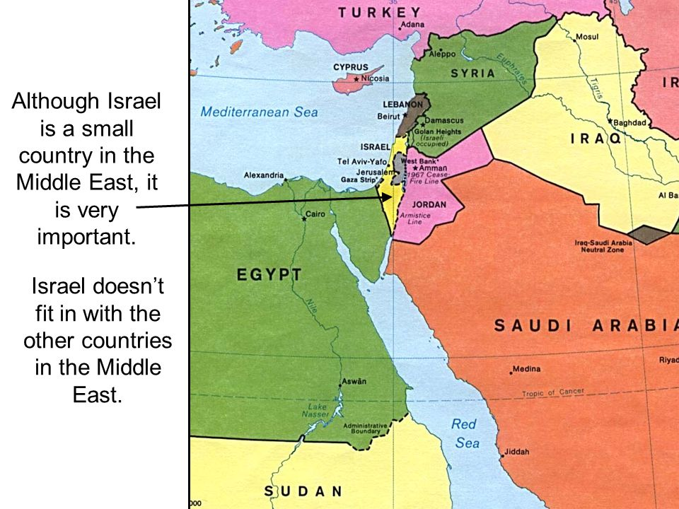 Israel doesn't fit in with the other countries in the Middle East.
