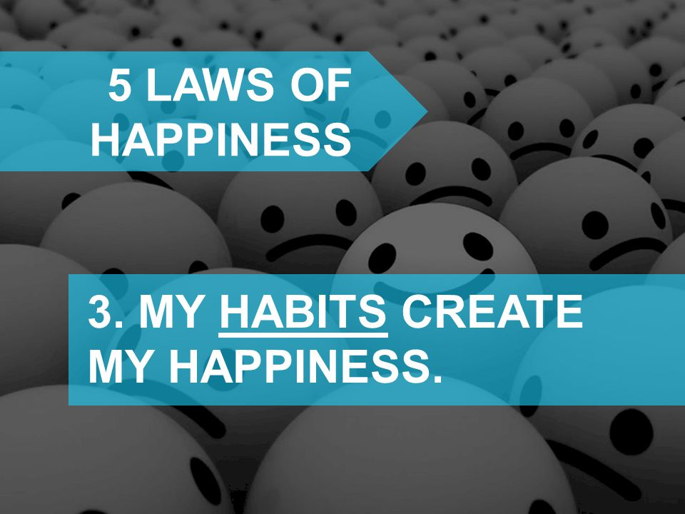 5 laws of happiness 3. MY HABITS CREATE MY HAPPINESS.
