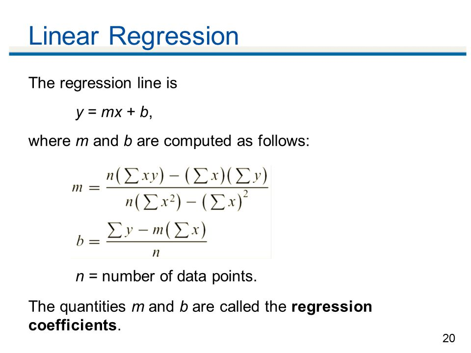 Linear Regression The regression line is y = mx + b,