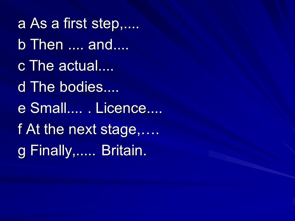 a As a first step,. b Then. and. c The actual. d The bodies. e Small
