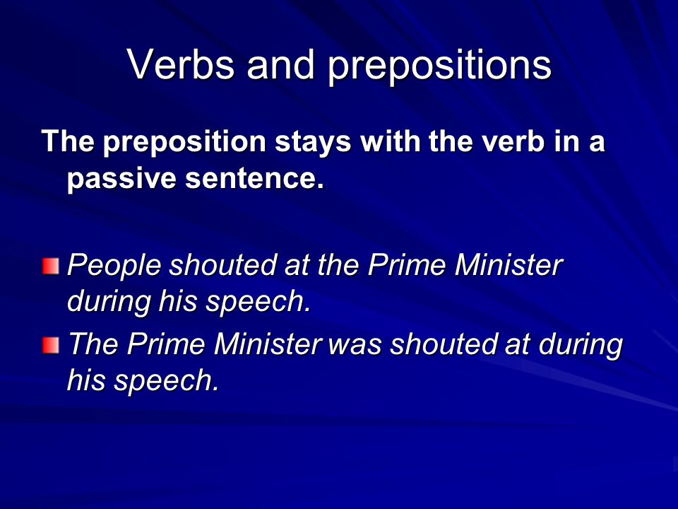 Verbs and prepositions