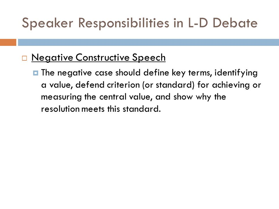 Speaker Responsibilities in L-D Debate