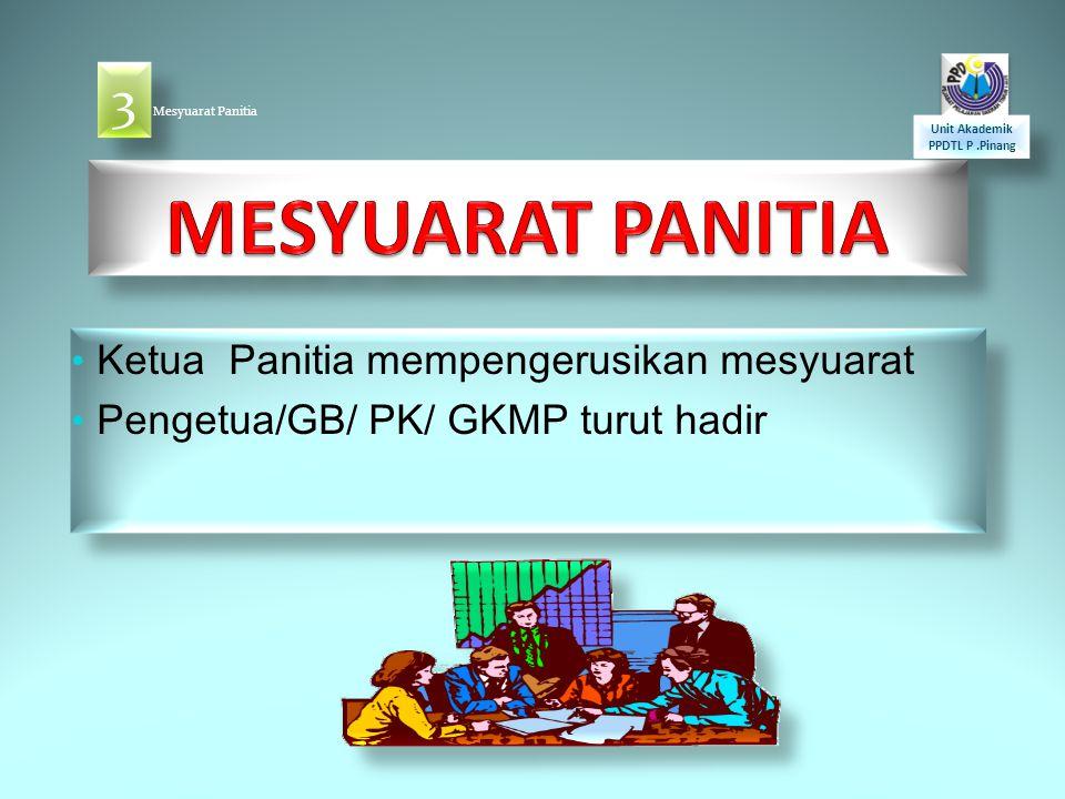 MESYUARAT PANITIA 3 Ketua Panitia mempengerusikan mesyuarat
