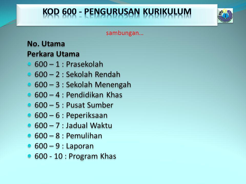 KOD 600 - PENGURUSAN KURIKULUM