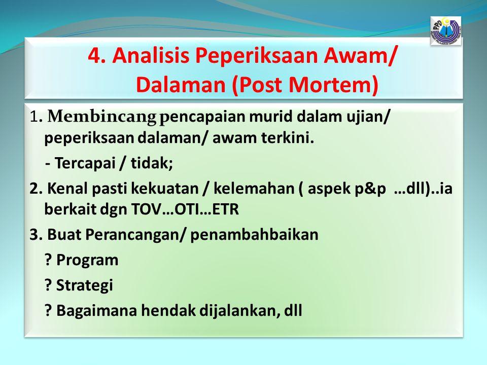 4. Analisis Peperiksaan Awam/ Dalaman (Post Mortem)